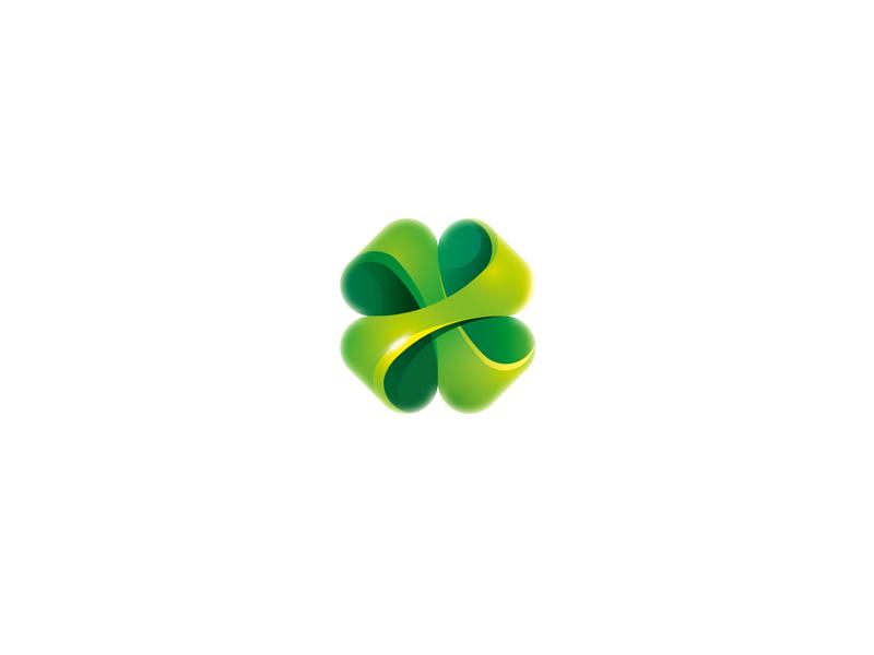 Clover logo sign mark clever clover glass icon trefoil herb flower 3d plant
