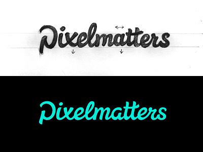 Pixelmatters Final pixelmatters lettering logo sketch handwritten
