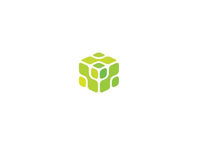 Cube eco logo box energy cube mark