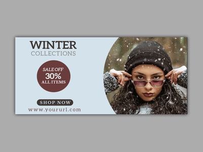 Winter fashion sale Banner website web banner unique trendy summer stationery social media seasons promotion promo professional minimal instagram header fashion editable creative corporate concept
