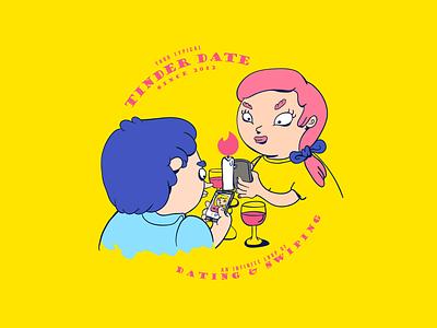 Tinder date date love couple illustration tinder