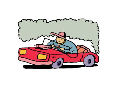Driving around illustration polution dude car