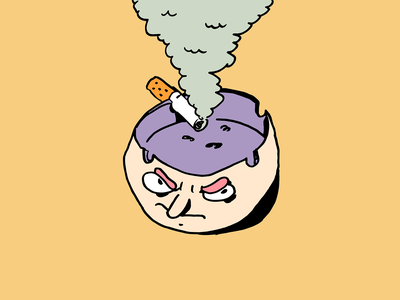 Angry Ashtray supremeninja design dessin illustration angry smoke