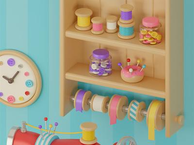 Cute sewing room 🧵 3d artist 3d modeling sewing sewing machine cat blender3d blender3dart blender 3d art 3d