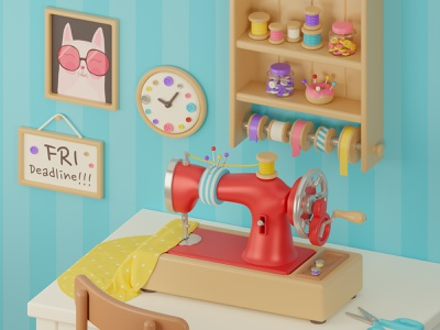 Cute sewing room 🧵 3d artist 3d modeling sewing sewing machine cat blender3d blender3dart blender 3d art 3d