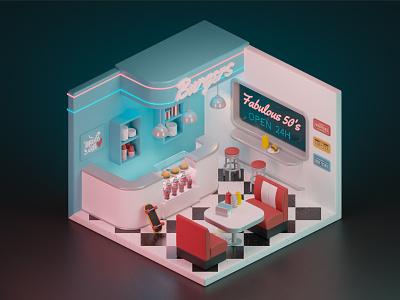 Retro Isometric Cafe 🍔 cute art isometric burger blender3d blender 3d artist 3d art 3d modeling 3d retrowave retro