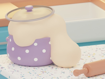 Runaway Dough 3д kitchen cat blender3dart blender 3d blender 3d modeling 3d artist 3d art 3d dough