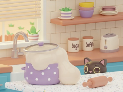 Runaway Dough 3д kitchen cat blender3dart blender 3d blender 3d modeling 3d artist 3d art 3d dough