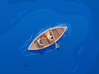 Boat fish buoy ocean boat illustrator ui