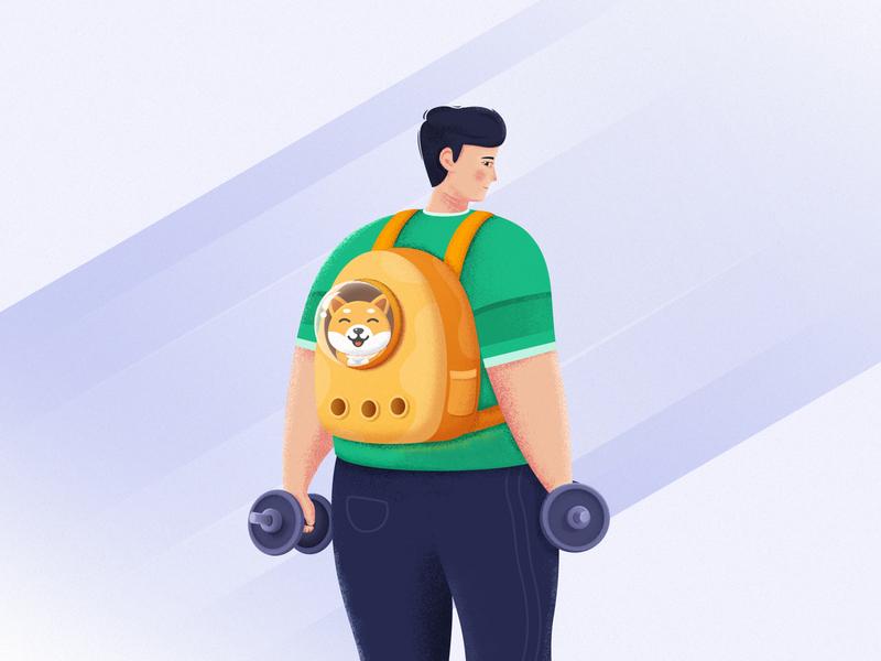 Sport green dumbbell container bag dog ps illustrator ui
