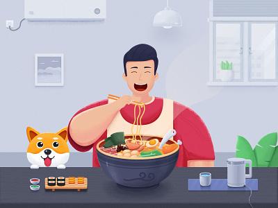 Have lunch man chicken bowl lamp flowerpot cup meat kettle dog egg eat design illustrator ui