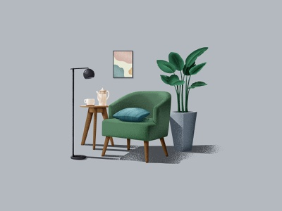 Room gray green frame table lamp pillow plant cup kettle sofa ps ui