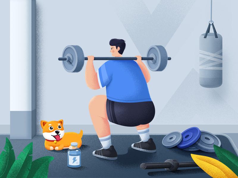 Weight Lifting orange punchbag wall man carpet shoes green blue leaf bottle barbell dumbbell dog design ps