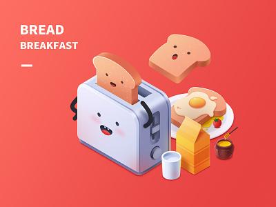 Breakfast plate milk honey tomato glass egg bread ps illustrator ui