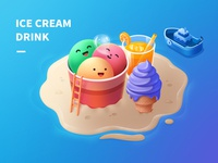 ICE CREAM ladder candle doughnut cake drink beach ship juice ice cream ps illustrator ui