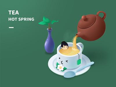 Tea leaf vase plate scoop jasmine teacup teapot women hot spring ps illustrator ui green