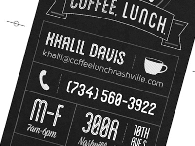 Coffee lunch business card