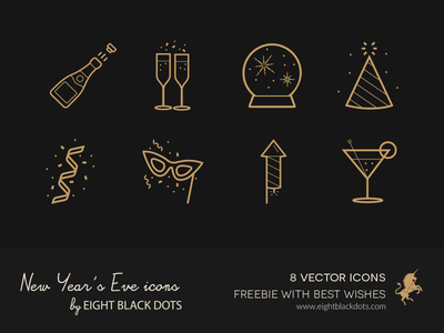 Free Icons for New Year's Eve from Ebdots