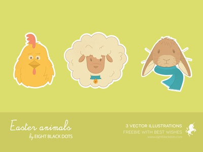 Easter free illustrations easter free freebie illustrations vector illustrator ebdots ebd eight black dots animals
