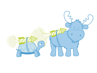Mascot illustration for client website turtle moose animals rocket dots eight black ebdots blue