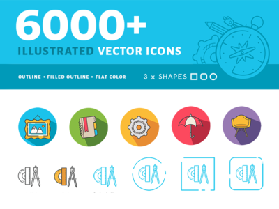 60 000+ Illustrated Vector Icons