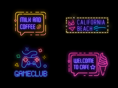Neon Badges visual effects effects cyberpunk 2077 cyberpunk icon neon lights game club beach cafe neon colors modern design banner title typography logo fx neon badges neon light neon sign neon