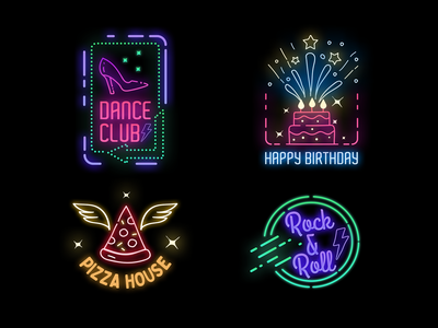 Neon Badges new year badge badges pizza house dance club happy bithday cyberpunk2077 neon colors sign neon lights neon light neon sign logo pixflow modern design typography title neon