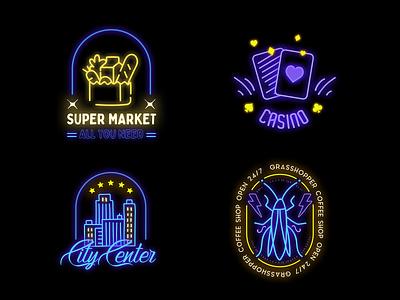 Neon Badges restaurant logo cafe logo casino logos logodesign logo design badgedesign badge design fx icons icon neon sign neon badge logo badge badges logo modern design typography title
