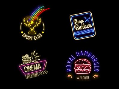 Neon Badges neon colors typography club icons icon neon lights shop hamburger cinema sport neon light logo title badge logo badges badge neon sign neon badge neon