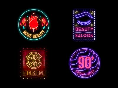 Neon Badges sign fashion gradient logo gradient title modern design sport bar beauty salon icon logo badge design badgedesign badge logo badges badge neon lights neon light neon sign neon