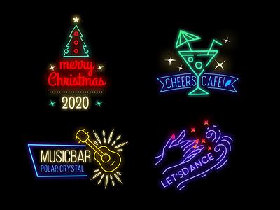 Neon Badges bar restaurant typogaphy modern design cafe dance merry christmas music badge design badgedesign badge logo badges badge neon lights neon colors neon light neon sign neon logo title