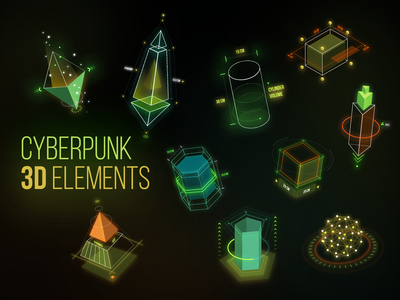 Cyberpunk 3D Elements hud 3d art geometric gradient glow cyberpunk2077 cybersport cyberpunk elements pyramid cube cylander elements 3d shapes 3d cyber security cybersecurity cyber cyberpunk modern design logo