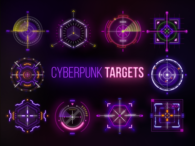 Cyberpunk Targets lights sight points point goal logo sign glow neon cyberpunk2077 cyber security cybersecurity cybersport cyberpunk cyber technology hud targets target title