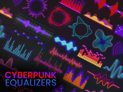 Cyberpunk Equalizer neon light glow grave bass creative modern design music app app gradient diagrams diagram equaliser music art music equalizer cyber security cybersport cyberpunk cyber