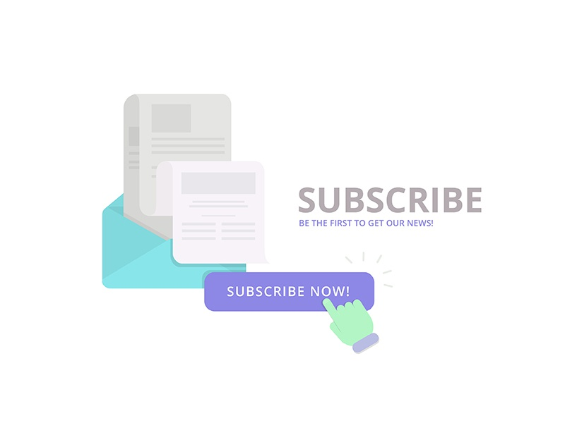 Subscribe sign-up sign-in user e-mail news mail subscribe vector illustration flat digital color