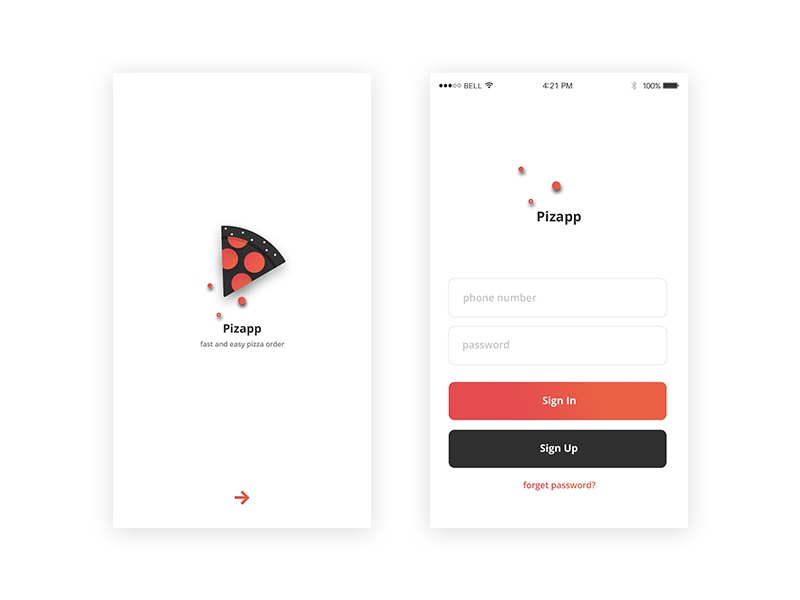 Pizza App ux ui sign-up sign-in pizza password order logo log-in delivery application app