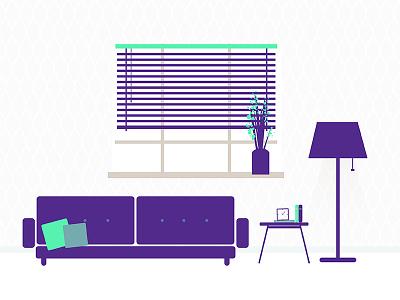 Living Room illustration environment lamp window sofa homedecor home room living room