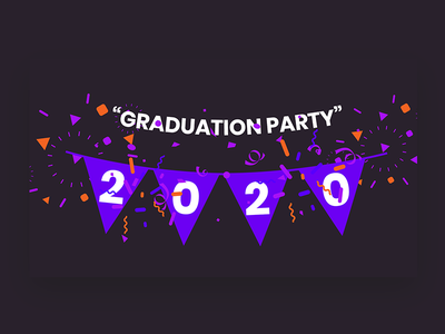 Graduation Party flag shapes graduate celebrate party graduation 2020 pixflow website banner header logo modern design banner infinity tool title typography