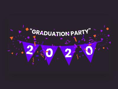 Graduation Party flag shapes graduate celebrate party graduation 2020 pixflow website banner header logo modern design banner infinity tool title typography