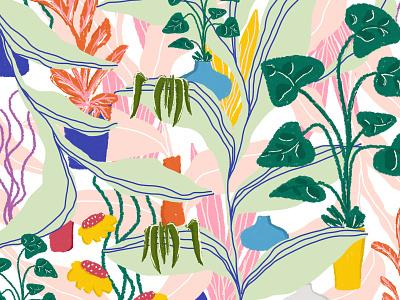 Plants on The Terrace hasniraudini pattern artist floral pattern botanical pattern textile pattern seamless pattern surface pattern pattern design pattern designer digital pattern design digital art illustration abstract pattern graphic designer graphic design
