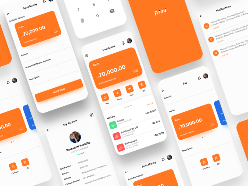 Frimi Mobile App UI Concept dashboad payment app money transfer finance app fintech banking userinterface ux ui adobexd ios app design ios app mobile banking app