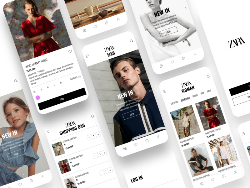 Zara App Redesign Concept ecommerce ecommerce app fashion brand fashion app fashion shopping cart shopping app minimal interface concept design redesign mobile app design ios ux mobile ui mobile