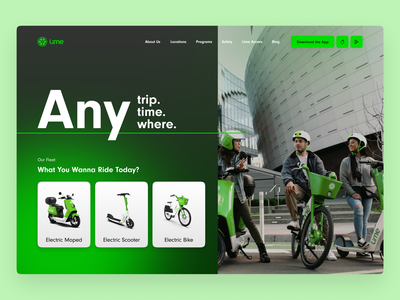 Lime Homepage Concept bike rental scooter lime ui design landing page web design ux ui