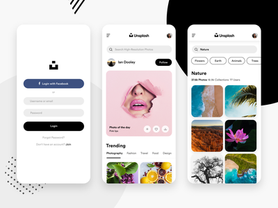 Unsplash App Concept tags carddesign home search login adobexd sketchapp minimal ux ui mobileapp appdesign design unsplash ui  ux