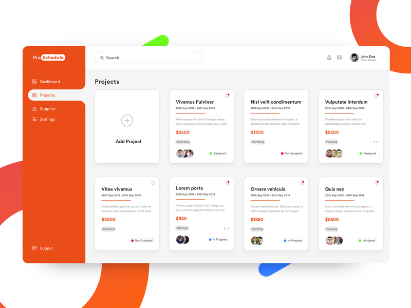 Project Management Tool tags dashboard ui dashboad webdesign trend2019 product webapp webapplication clean adobe xd minimal flat cards ui projects analytics design ux ui ui ux