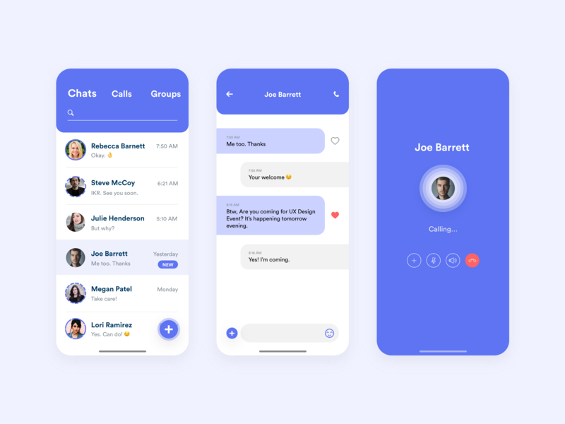 Chat App Concept messenger app thread call screen rebound effects mobile app design concept design adobe xd application ui mobile app chat app clean xd adobe ux ui minimal flat