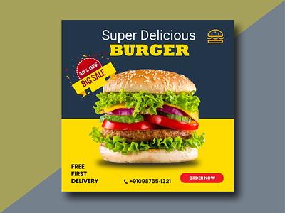 Burger social media poster icon social media design branding illustration vector illustrator logo design
