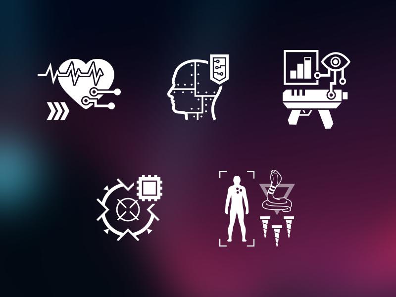 Neon Chrome — Icons preview ui white mono game icon flat project