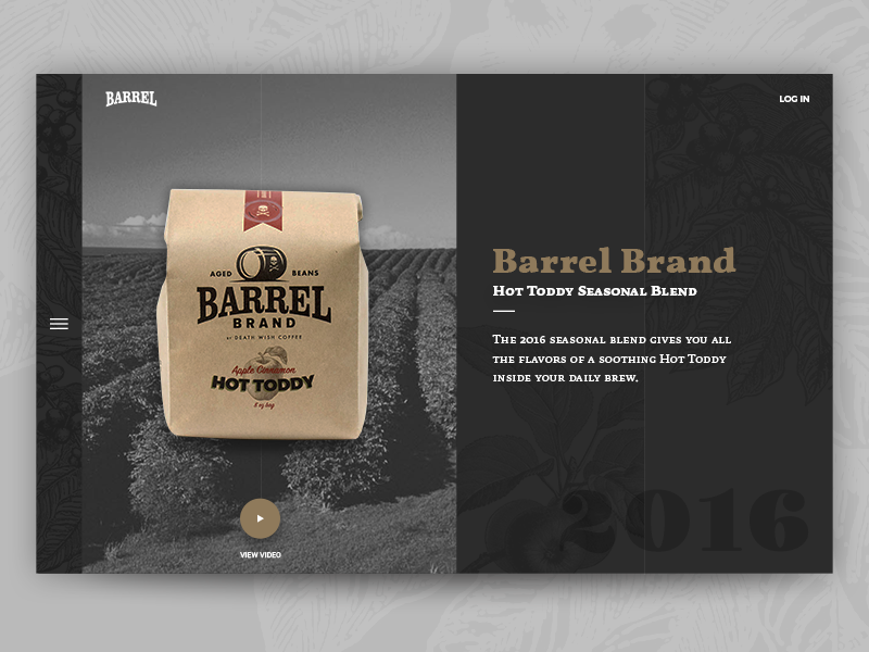 Barrel Brand Coffee — Header Concept coffee website ui personal dark