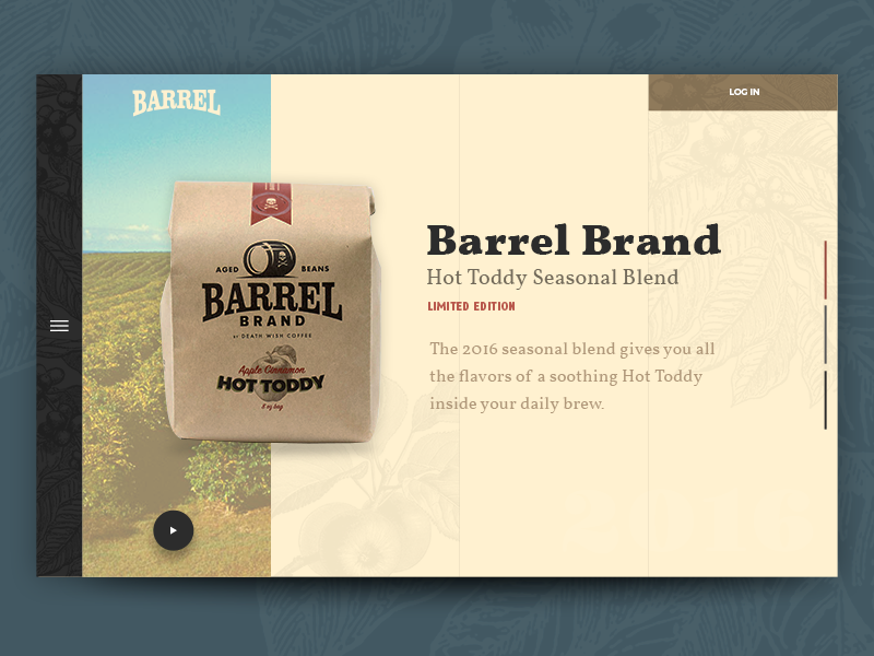Barrel Brand Coffee — Second Header Concept coffee website ui personal